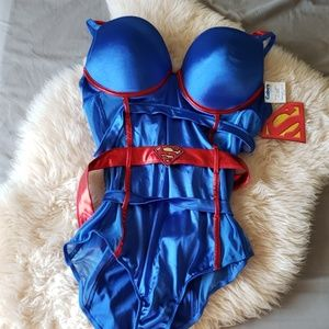 Superman bodysuit strappy cage lingerie
